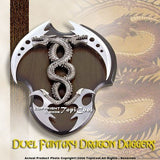 Fantasy Dual Dragon Dagger Sword w/ Wall Mount Plaque
