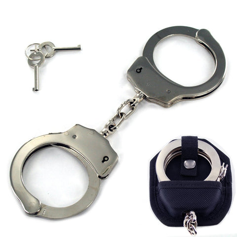 Professional Grade Police Edition Heavy Duty Security Handcuffs Silver Chrome Steel Double Lock with case (SILVER)