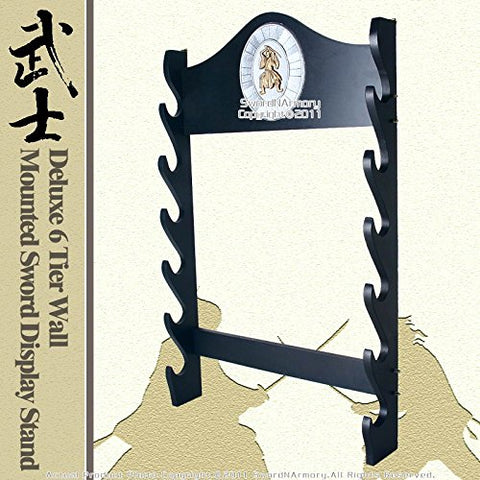 Deluxe 6Tier Wall Mounted Sword Display Stand W Samurai