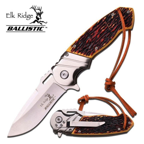 "8.5"" ELK RIDGE Bone Gentleman SPRING ASSISTED OPEN Hunting Folding POCKET KNIFE"