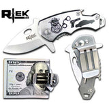 "RTek USA Mini 4.25"" Overall Tactical Money Clip Bottle Opener Folding Spring Assisted Open Knife 7 Variations Army, Navy, Marines, Special Forces, Fire Department, Police, Air Force,"
