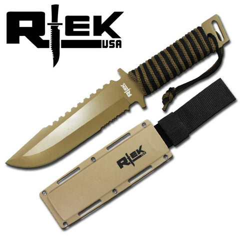 "12"" Rtek Tactical Combat Paracord Camo Brown Army Hunting Fixed Blade Knife Black USA R tek Hard Plastic Sheath Full Tang Handle"
