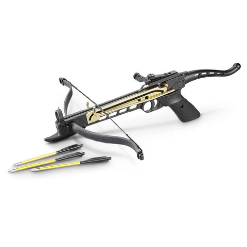 80 Pound Aluminum Self-cocking Pistol Crossbow with 27 Bolts and Extra String