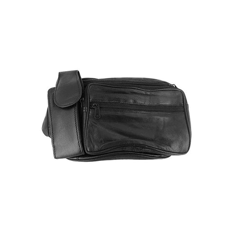 Genuine Leather Black Fanny Pack Waist Bag with Cell Phone Pouch