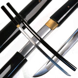 Ace Martial Arts Supply Handmade Japanese Shirasaya Samurai Katana Sharp Sword-Musha (Black)