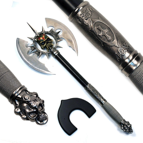 Ace Martial Arts Supply Death's Head Skull Fantasy Battle Axe with Plaque