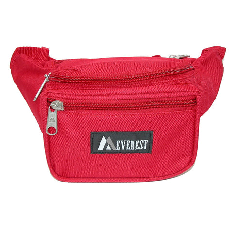 Everest Unisex Fabric Organizer Adjustable Fanny Waist Pack, Red