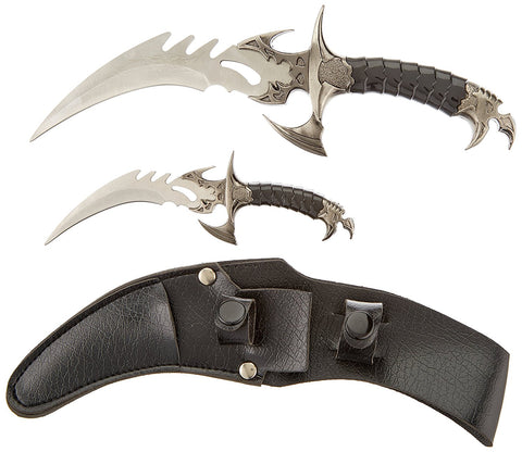 Ace Martial Arts Supply Draco Twin Fantasy Dagger Set, Silver