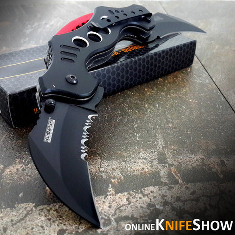 "10.25"" DUAL BLADE KARAMBIT SPRING ASSISTED TACTICAL FOLDING KNIFE Open Pocket"