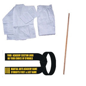 Complete Karate Set w/ Staff (Custom Black Belt) - SparringGearSet.com
