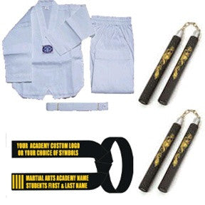Complete Taekwondo Set w/ Nunchucks (Pair) (Custom Black Belt) - SparringGearSet.com