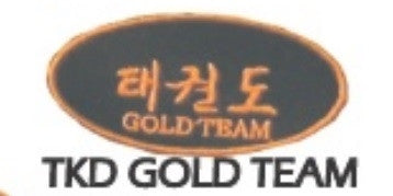 "Taekwondo ""Gold Team"" Patch, Black with Gold - SparringGearSet.com"