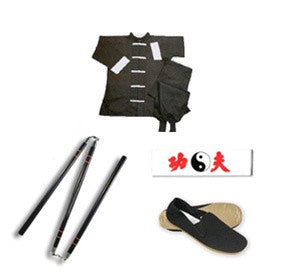 Complete Kung Fu Set w/ 3 Sectional Staff - SparringGearSet.com