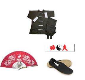 Complete Kung Fu Set w/ Fighting Fan - SparringGearSet.com