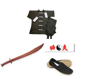 Complete Kung Fu Set w/ Wood Broadsword - SparringGearSet.com
