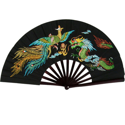 Dragon & Phoenix. Black Bamboo Fan - SparringGearSet.com
