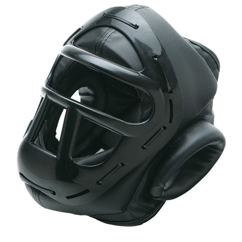 Vinyl Head Gear with Cage, Black - SparringGearSet.com - 1
