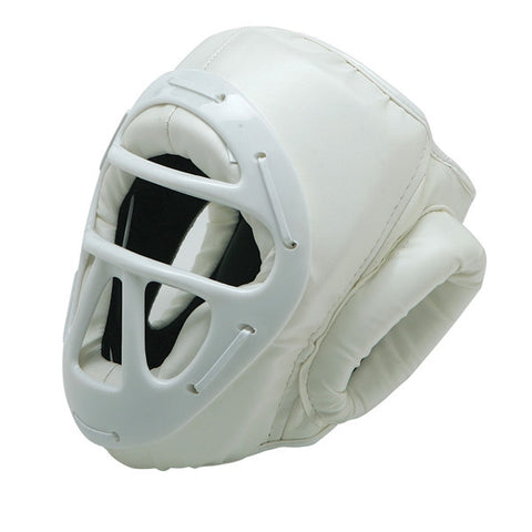 Vinyl Head Gear with Cage, White - SparringGearSet.com - 1