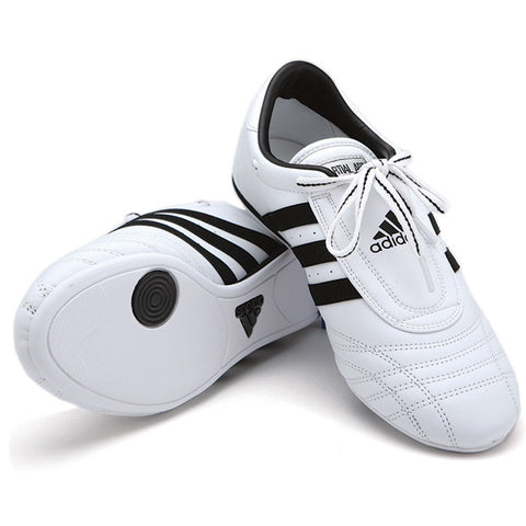 Adidas SM II Shoes, White w/ Black Stripes - SparringGearSet.com