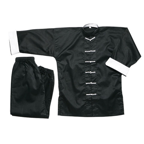 White Button Kung Fu Uniform, Black - SparringGearSet.com - 1