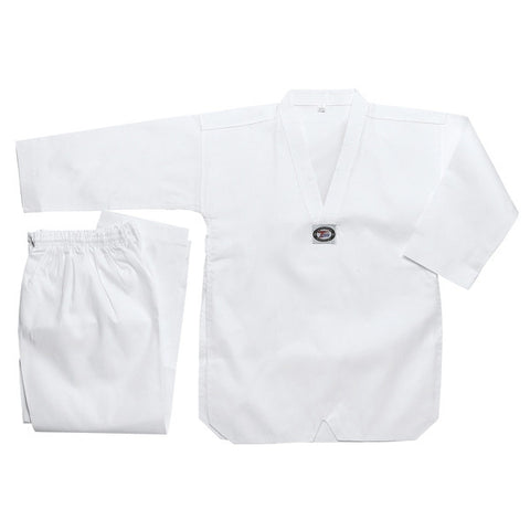 Deluxe Taekwondo Uniform (Ribbed) - White V-Neck - SparringGearSet.com - 1