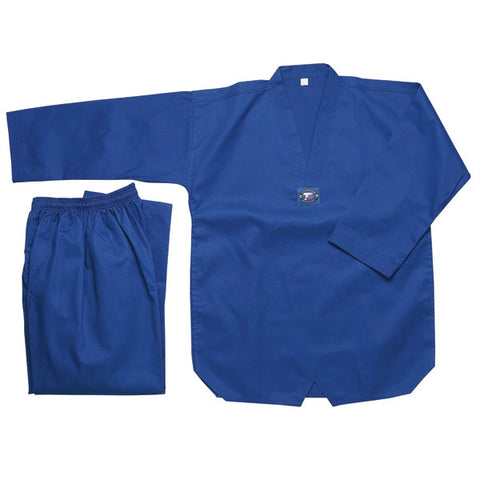 Color Ribbed Taekwondo Uniform - Blue - SparringGearSet.com - 1