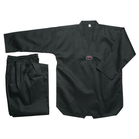 Color Ribbed Taekwondo Uniform - Black - SparringGearSet.com - 1