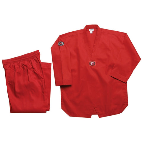 Color Ribbed Taekwondo Uniform - Red - SparringGearSet.com - 1