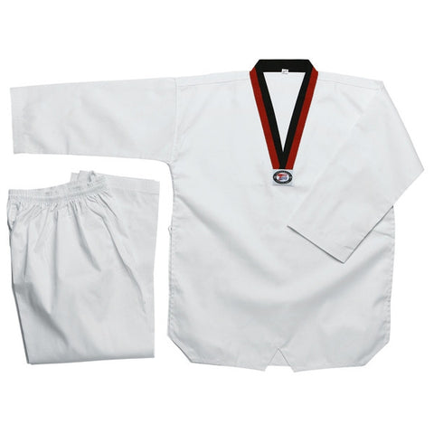 Deluxe Taekwondo Uniform (Ribbed) - Poom V-Neck - SparringGearSet.com - 1