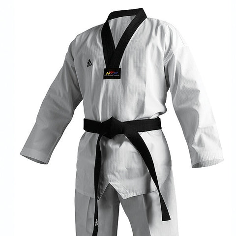 Adidas Champion II TKD Uniform, Black Lapel - SparringGearSet.com - 1