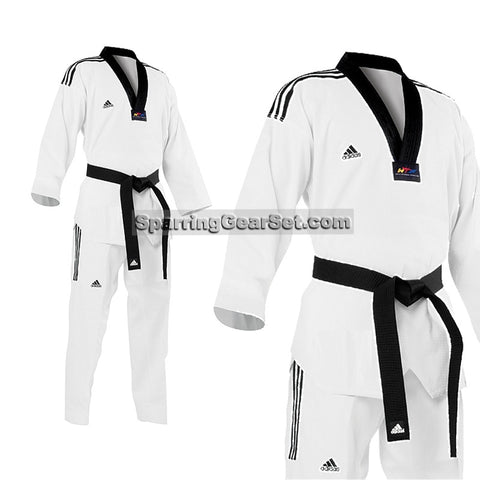 Adidas Grand Master TKD Uniform with Stripes - SparringGearSet.com - 1