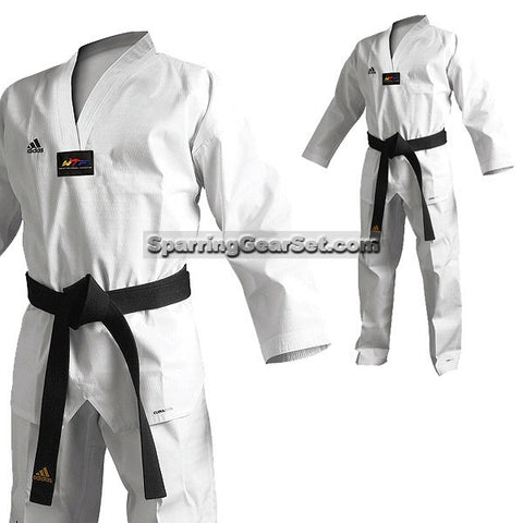Adidas Adichamp 3 TKD Uniform, White Lapel - SparringGearSet.com - 1