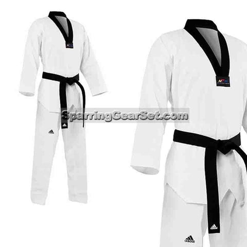 Adidas Adi-Start Taekwondo Uniform, Black Lapel - SparringGearSet.com - 1