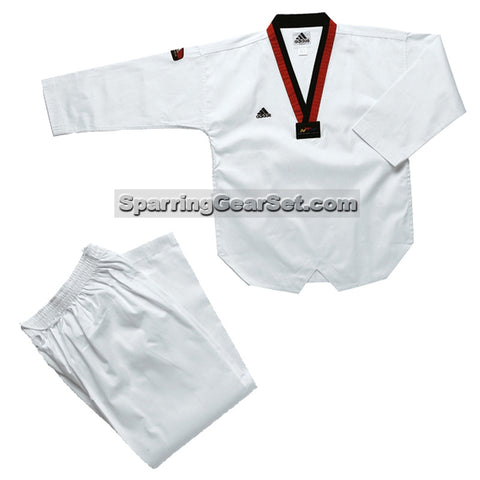 Adidas Adi-Start Taekwondo Uniform, Red and Black Lapel - SparringGearSet.com - 1