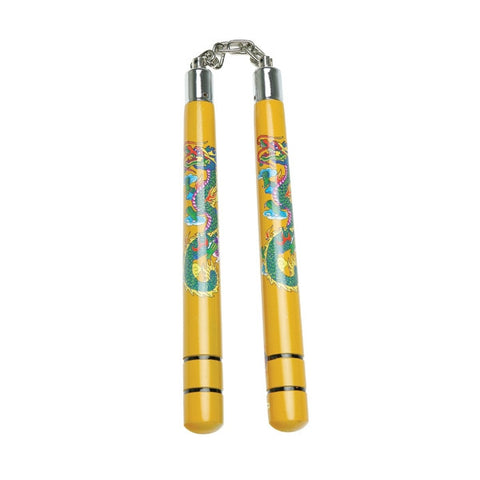 Wooden Nunchaku with Dragon and Striped Handle - SparringGearSet.com