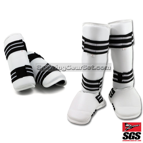 White Vinyl Sparring Gear Set Shin Instep and Forearm Guards - SparringGearSet.com - 2