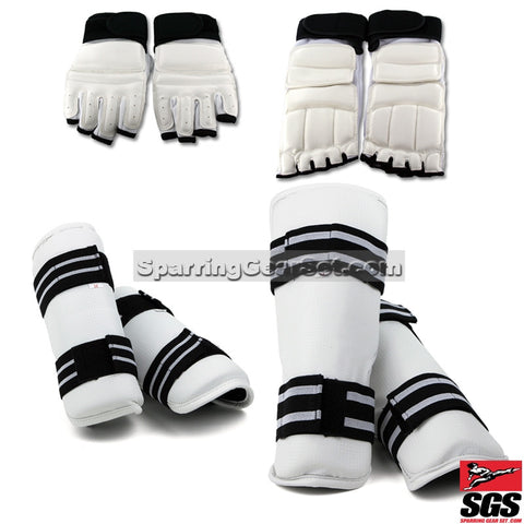 White Vinyl Shin, Forearm, Gloves and Foot Guard - SparringGearSet.com