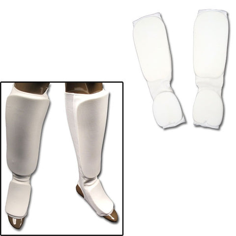 White Cloth Sparring Gear Set Shin Instep and Fist and Forearm Guards - SparringGearSet.com - 1