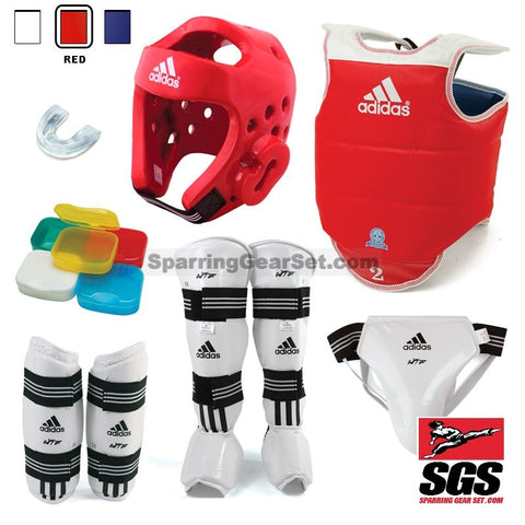 Adidas Complete Taekwondo Sparring Gear Set w/ Shin Instep Guards - SparringGearSet.com - 1