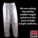 Middleweight Pants Poly/Cotton (Karate and Taekwondo) - White, 7 oz - SparringGearSet.com - 2