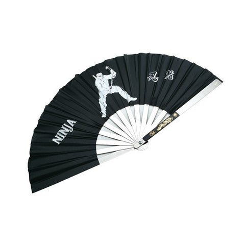 Stainless Steel Black Fighting Fans - Standing Ninja