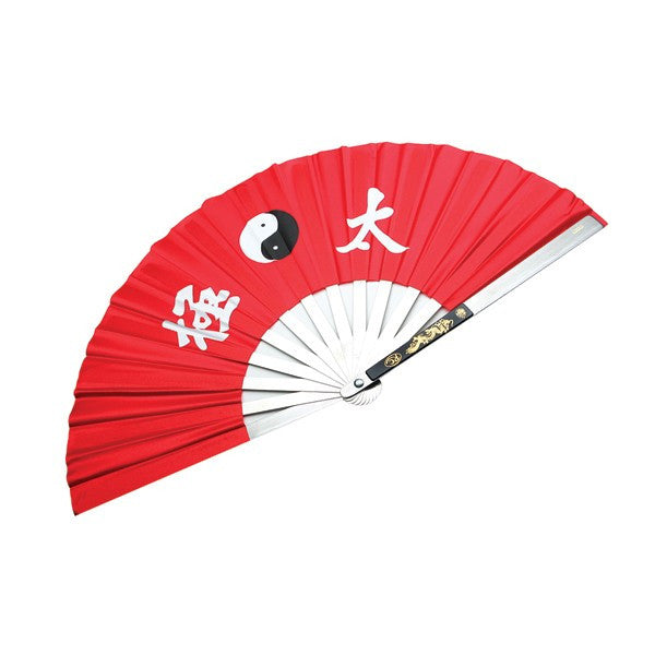 Stainless Steel Red Fighting Fans - Tai Chi