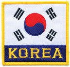 "KOREA FLAG PATCH WITH ""KOREA"" 3.5"" x 3.5"" - SparringGearSet.com"
