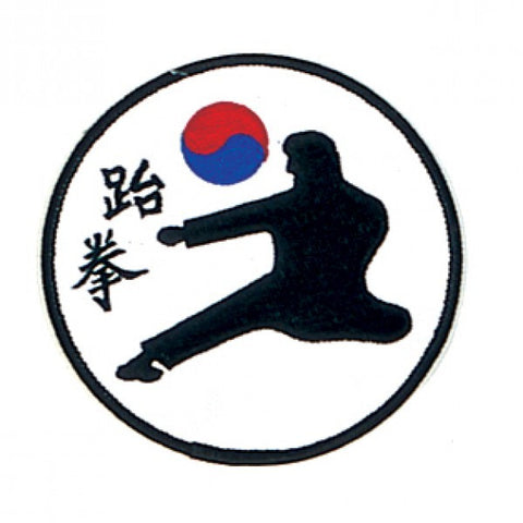 Tae Kwon Kicking Man Patch with Yin and Yang