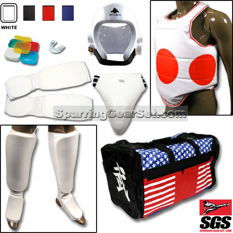 Complete Cloth Martial Arts Sparring Gear Set with Bag, Shin Instep, Groin Cup - SparringGearSet.com - 1