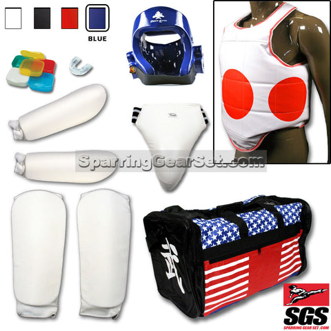 Complete Cloth Martial Arts Sparring Gear Set with Bag, Shin Guard, and Groin Cup - SparringGearSet.com - 1