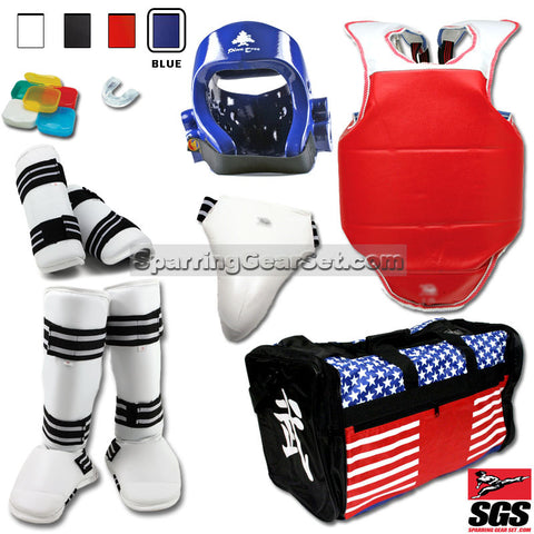 Complete Taekwondo Vinyl Sparring Gear Set w/ Shin Instep Guards - SparringGearSet.com - 1