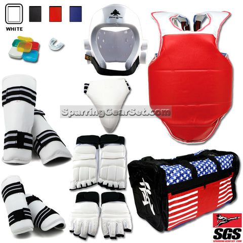 Complete Taekwondo Vinyl Sparring Gear Set with Shin, Hand and Foot Guard - SparringGearSet.com - 1