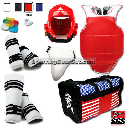 Complete Taekwondo Vinyl Sparring Gear Set w/ Shin Guards - SparringGearSet.com - 1