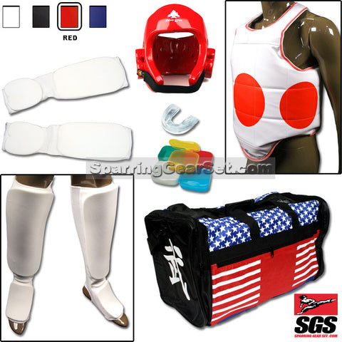 Complete Cloth Martial Arts Sparring Gear Set with Bag - SparringGearSet.com - 1
